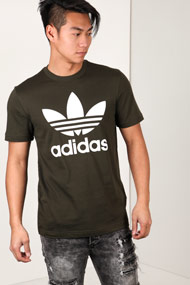 adidas Originals - T-Shirt - Dark Olive Green + White
