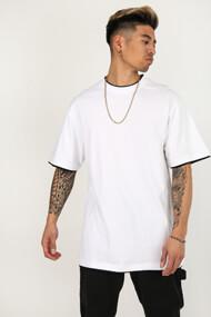 Urban Classics - Long T-Shirt - White + Black