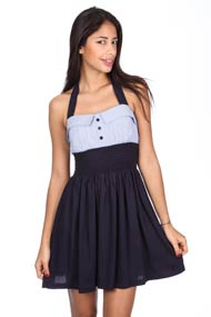 French Kiss - Robe bustier - Navy Blue + White