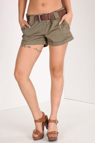 Ruby Tuesday - Shorts - Olive Green + Dark Brown
