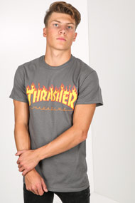 Thrasher - T-Shirt - Dark Grey + Yellow