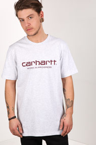Carhartt WIP - T-Shirt - Light Grey + Bordeaux