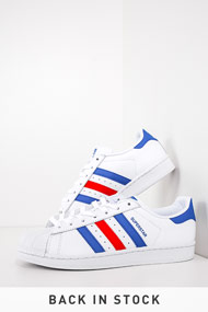 adidas Originals - Superstar Sneaker low - White + Blue + Red