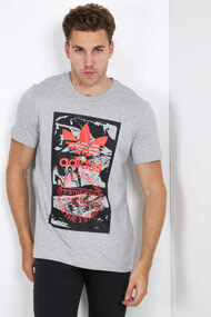 adidas Originals - T-Shirt - Heather Grey + Black + Red