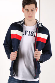 Tommy Hilfiger - Veste en sweat - Dark Navy Blue + Red + White