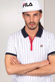 Fila - Poloshirt - White + Navy Blue + Red