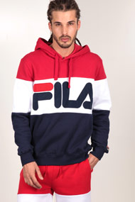 Fila - Sweatshirt à capuchon - Navy Blue + Red + White
