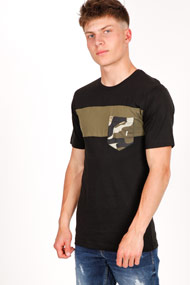 Only & Sons - T-Shirt - Black + Olive Green