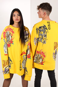 Granted - Oversize Sweatshirt - Yellow + Multicolor