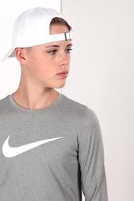Nike - Shirt manches longues - Heather Light Grey + White