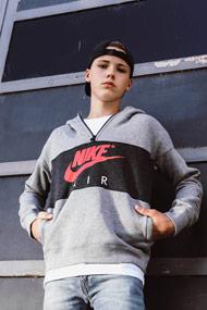 Nike - Sweatshirt - Heather Light Grey + Pink