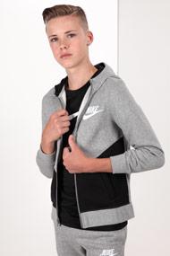 Nike - Kapuzensweatjacke - Heather Light Grey + Black