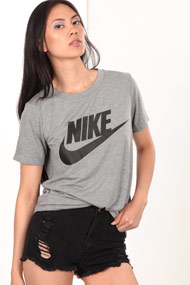 Nike - T-Shirt - Heather Grey + Black