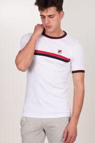 Fila - T-Shirt - White + Red + Navy Blue
