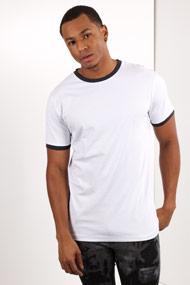Urban Classics - T-Shirt - White + Navy Blue