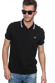 Fred Perry - Poloshirt - Black + White