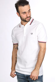 Fred Perry - Poloshirt - White + Red + Navy Blue
