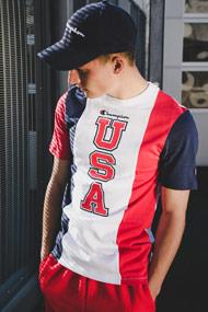 Champion - T-Shirt - White + Red + Navy Blue