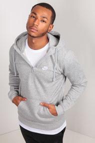 Nike - Kapuzensweatshirt - Heather Light Grey + White