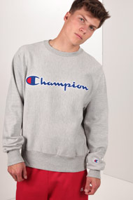 Champion - Sweatshirt - Heather Grey + Royal Blue