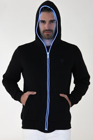 Cash Money - Sweat zippé LED - Black + Blue