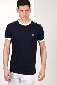 Fred Perry - T-Shirt - Navy Blue + Offwhite
