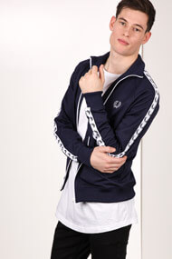 Fred Perry - Sweatjacke - Navy Blue + White