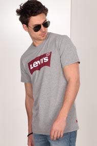 Levi's - T-Shirt - Heather Light Grey + Red