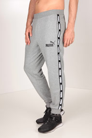 Puma - Pantalon en sweat - Heather Light Grey + Black