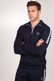 Fred Perry - Sweatshirt - Navy Blue + White