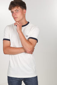 Fred Perry - T-Shirt - Offwhite + Navy Blue