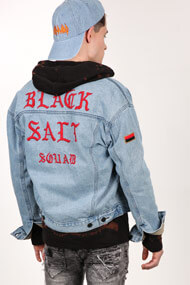 BlackSalt - Veste en jean - Blue + Red