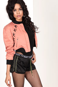 Bae - Veste bomber courte - Old Rose + Black