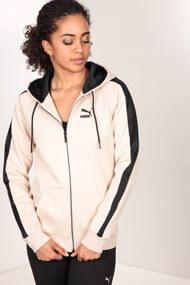 Puma - Veste de jogging à capuchon - Heather Beige + Black