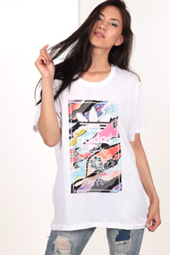 adidas Originals - T-Shirt long - White + Multicolor
