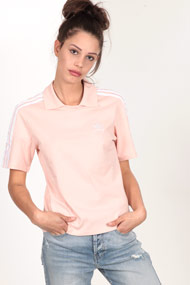 adidas Originals - Poloshirt - Rose + White