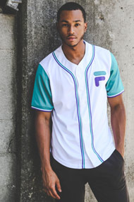 Fila - Baseball Hemd - White + Smaragd + Purple