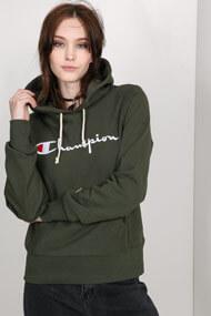 Champion - Kapuzensweatshirt - Dark Olive Green + White