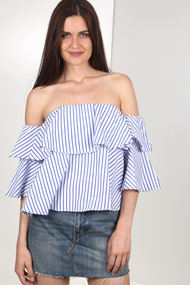 Ivivi - Blouse off shoulder - White + Blue
