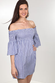 Ivivi - Robe off shoulder - Blue + White