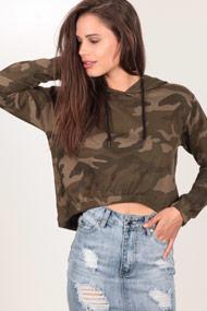Urban Classics - Crop Sweatshirt - Camouflage