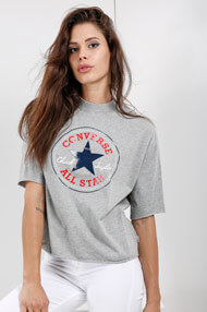 Converse - T-Shirt ample - Light Grey + Red + Blue