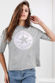 Converse - T-Shirt ample - Light Grey + Lilac