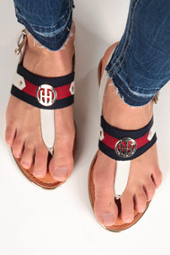 Tommy Hilfiger - Sandales - Light Grey + Navy Blue + Red