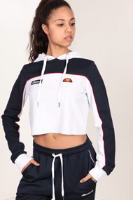 Ellesse - Crop Sweatshirt - White + Navy Blue