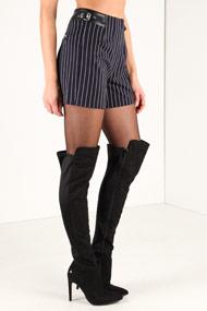 Guess - High Waist Shorts - Navy Blue + White