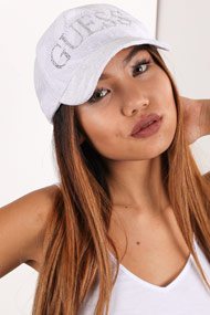 Guess - Snapback Cap - White + Silver