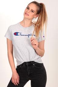 Champion - T-Shirt - Heather Light Grey + Royal Blue