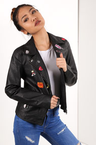 Only - Veste biker en similicuir - Black