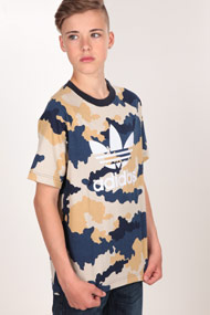adidas Originals - T-Shirt - Camouflage + Navy Blue + White